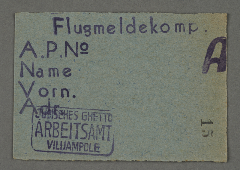 1995.89.678 front Work assignment slip from the Kovno ghetto