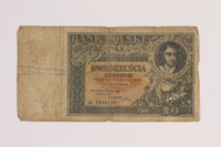 2014.459.4 front 20 zlotych note, Bank Polski  Click to enlarge