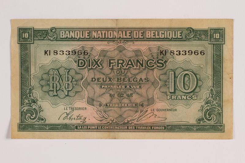 2014.459.7 front 10 franc note, Banque Nationale de Belgique