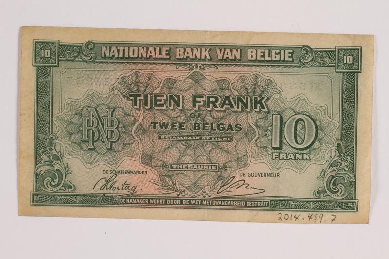 2014.459.7 back 10 franc note, Banque Nationale de Belgique