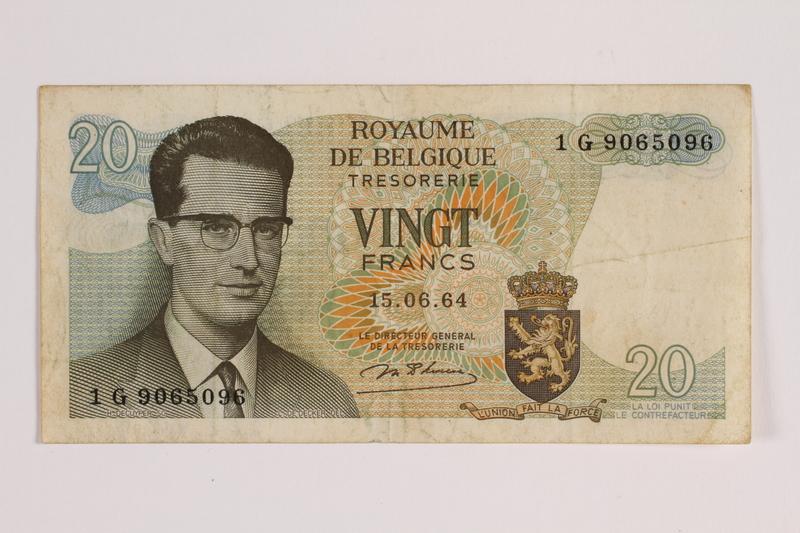 2014.459.8 front 20 franc note, Royaume de Belgique Tresorerie