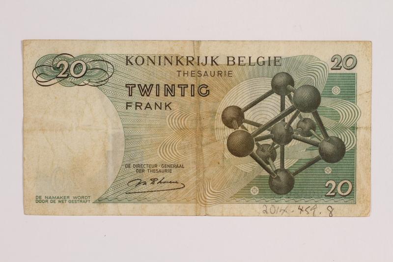 2014.459.8 back 20 franc note, Royaume de Belgique Tresorerie