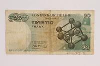 2014.459.8 back 20 franc note, Royaume de Belgique Tresorerie  Click to enlarge