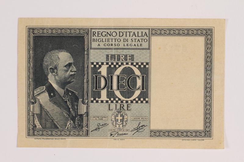 2014.459.9 front 10 lire note, Regno D'Italia Biglietto di Stato