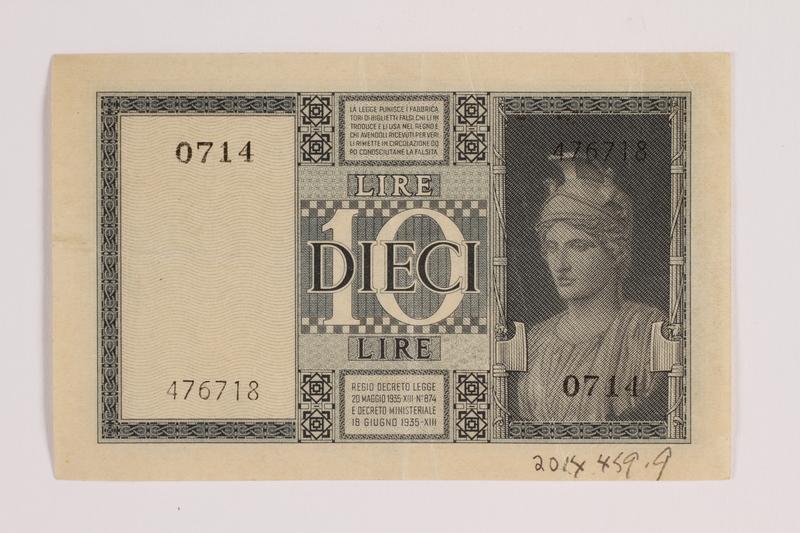 2014.459.9 back 10 lire note, Regno D'Italia Biglietto di Stato