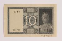 2014.459.9 back 10 lire note, Regno D'Italia Biglietto di Stato  Click to enlarge
