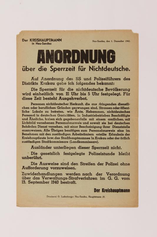 1998.194.1 front Order (Anordnung) for Neu-Sandez