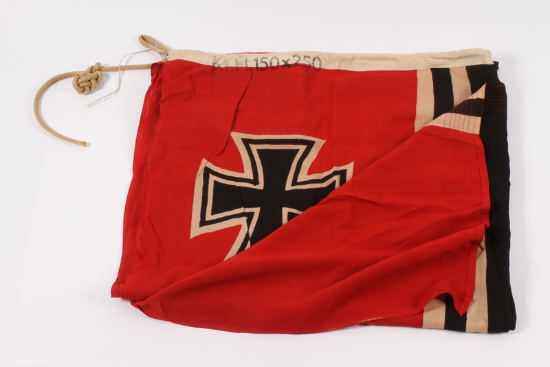2015.210.1 front Nazi Germany Kriegsamarine banner acquired by an American soldier at Ohrdruf