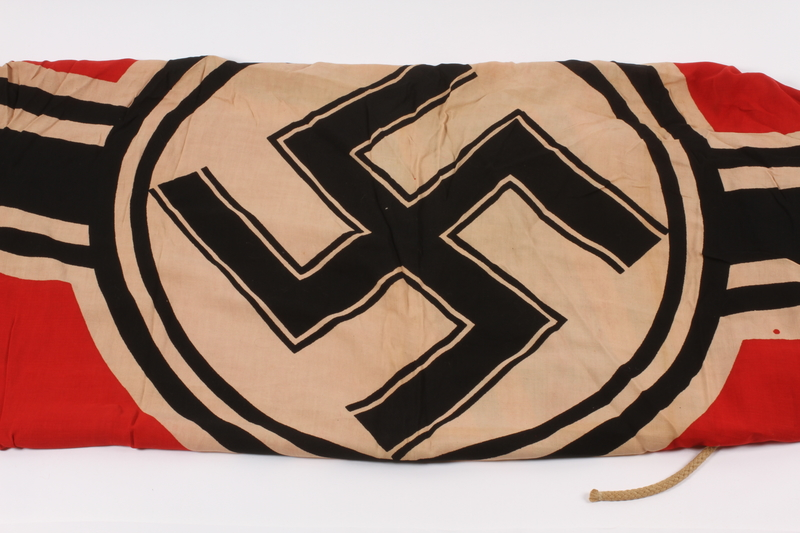 2015.210.1 closed Nazi Germany Kriegsamarine banner acquired by an American soldier at Ohrdruf