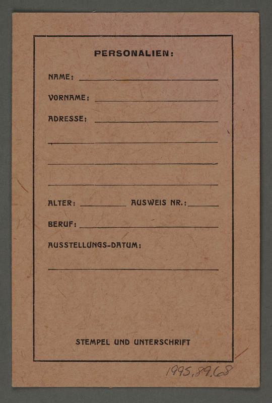 1995.89.68 front Work pass from the Kovno ghetto