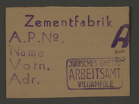 1995.89.680 front Work assignment slip from the Kovno ghetto  Click to enlarge
