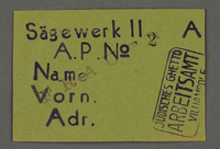1995.89.681 front Work assignment slip for Woodcutting from the Kovno ghetto  Click to enlarge