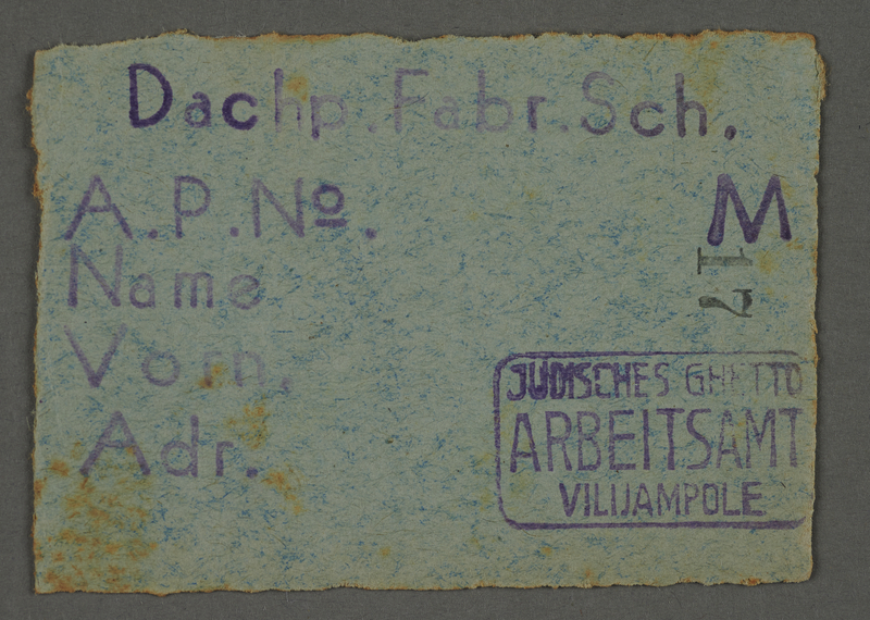 1995.89.682 front Work assignment slip from the Kovno ghetto