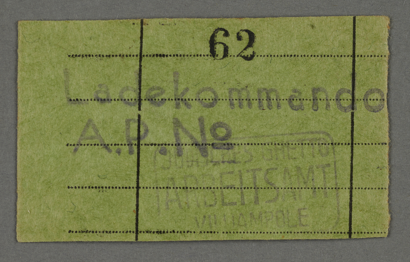 1995.89.683 front Work assignment slip from the Kovno ghetto