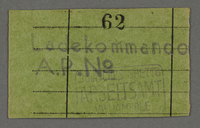 1995.89.683 front Work assignment slip from the Kovno ghetto  Click to enlarge
