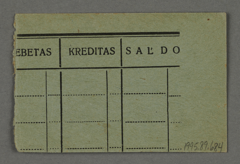1995.89.684 back Work assignment slip from the Kovno ghetto