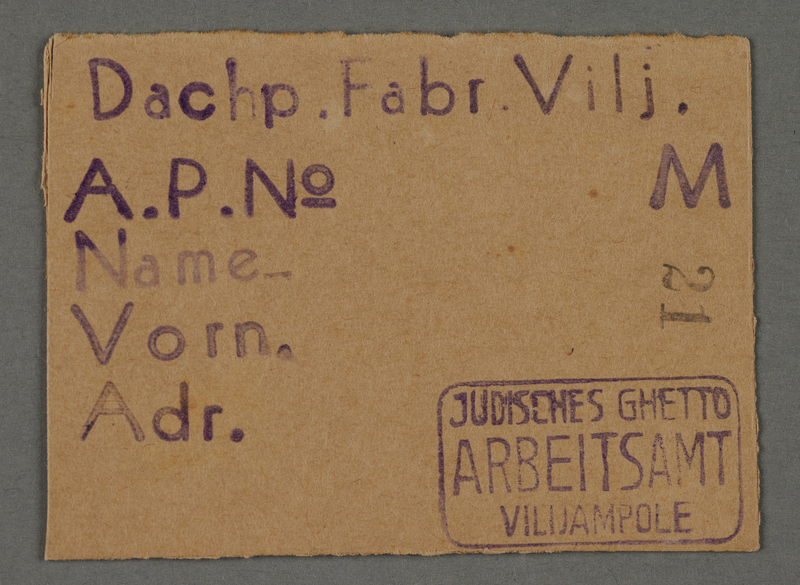 1995.89.686 front Work assignment slip from the Kovno ghetto