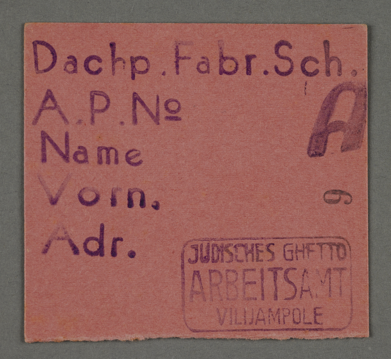 1995.89.688 front Work assignment slip from the Kovno ghetto