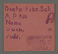 1995.89.688 front Work assignment slip from the Kovno ghetto  Click to enlarge