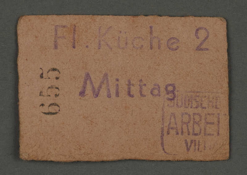 1995.89.689 front Coupon for airport meals from the Labor Office in the Kovno Ghettto