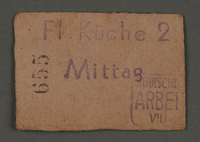 1995.89.689 front Coupon for airport meals from the Labor Office in the Kovno Ghettto  Click to enlarge