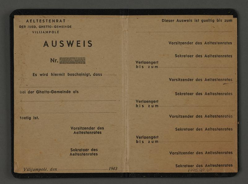 1995.89.69 open Identity card from the Kovno ghetto