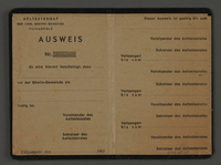 1995.89.69 open Identity card from the Kovno ghetto  Click to enlarge