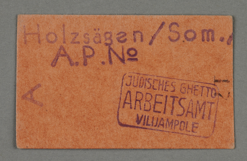 1995.89.690 front Work assignment slip from the Kovno ghetto
