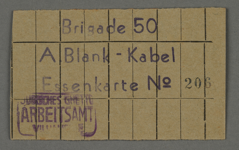 1995.89.691 front Food card from the Labor office in the Kovno ghetto