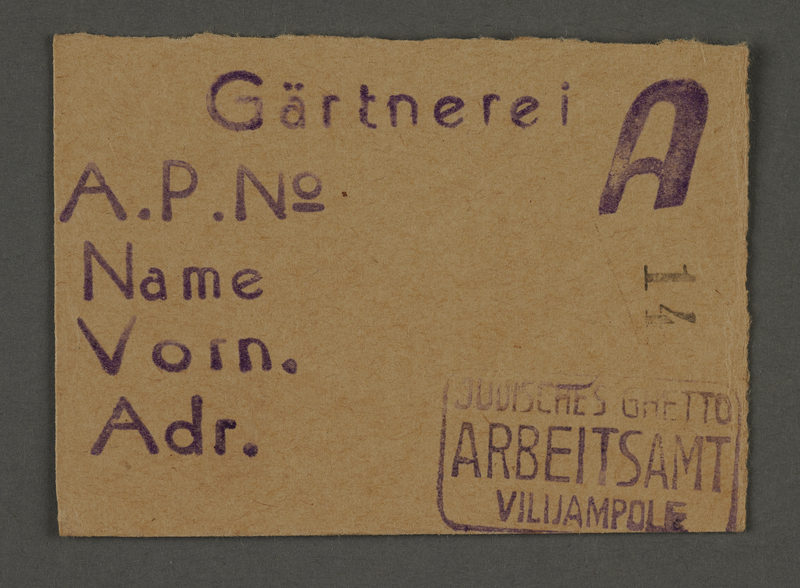 1995.89.692 front Work assignment slip from the Kovno ghetto