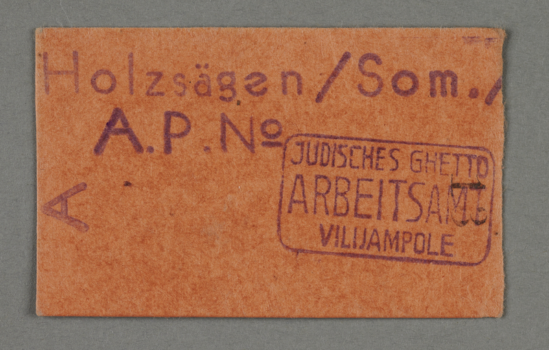 1995.89.694 front Work assignment slip from the Kovno ghetto