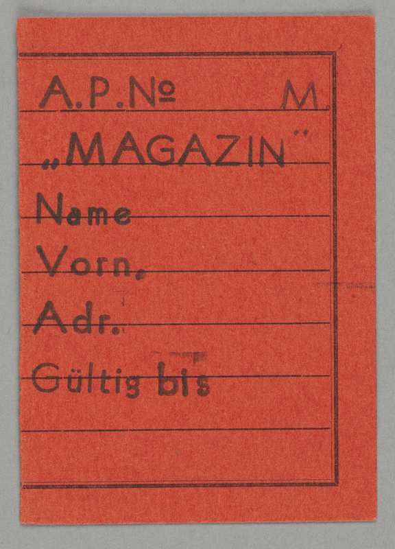 1995.89.695 front Work assignment slip from the Kovno ghetto