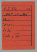 1995.89.695 front Work assignment slip from the Kovno ghetto  Click to enlarge
