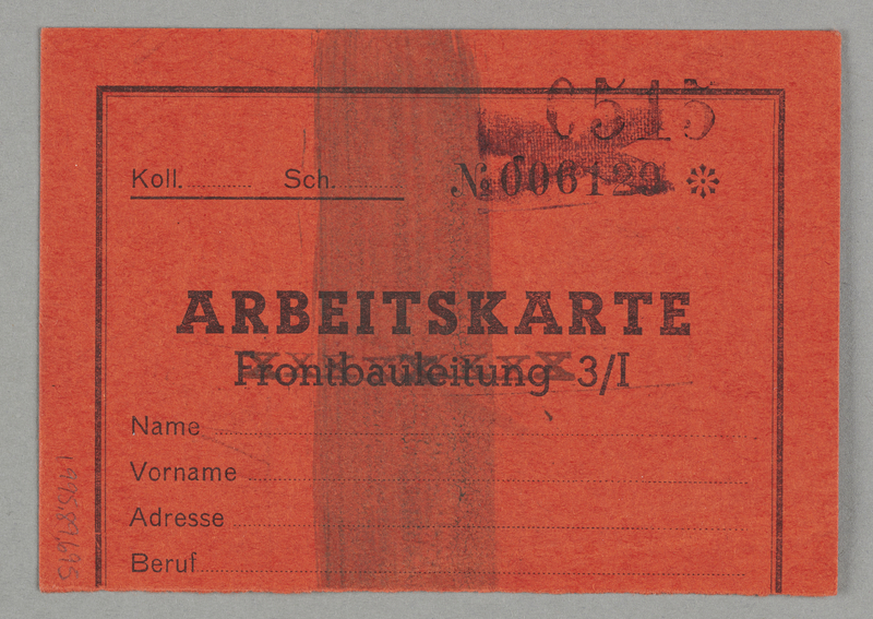 1995.89.695 back Work assignment slip from the Kovno ghetto