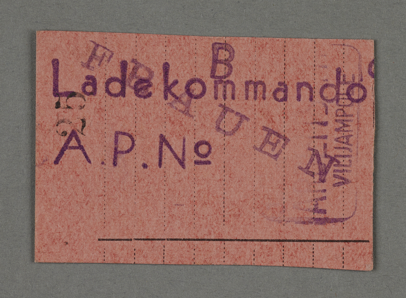 1995.89.696 front Work assignment slip from the Kovno ghetto