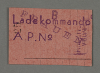 1995.89.696 front Work assignment slip from the Kovno ghetto  Click to enlarge