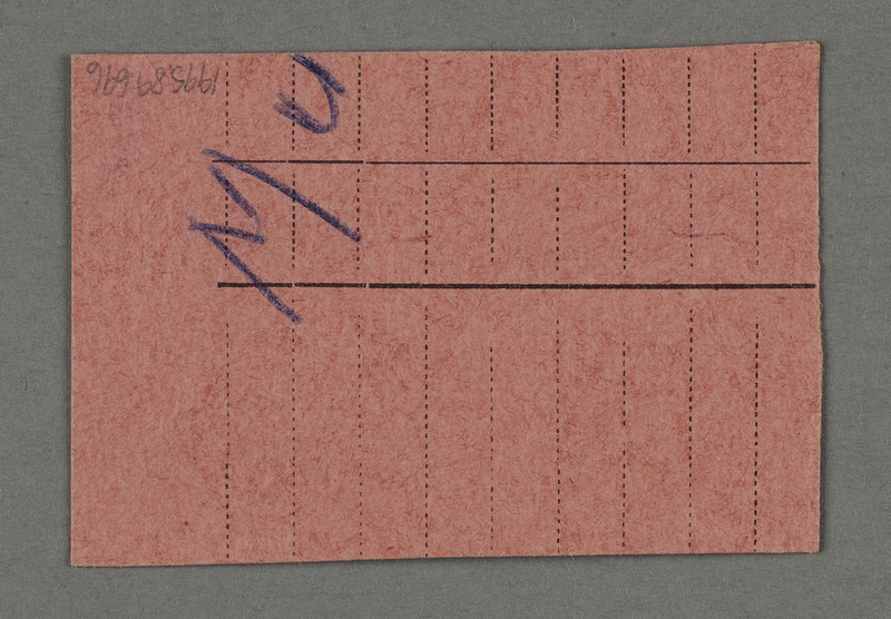 1995.89.696 back Work assignment slip from the Kovno ghetto