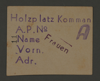 1995.89.697 front Work assignment slip from the Kovno ghetto  Click to enlarge