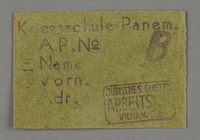 1995.89.698 front Work assignment slip from the Kovno ghetto  Click to enlarge