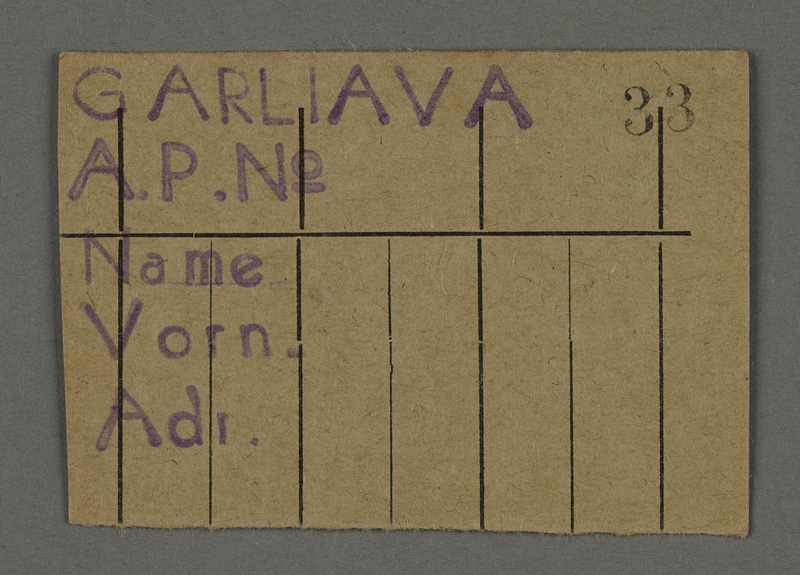 1995.89.701 front Work assignment slip from the Kovno ghetto