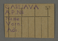 1995.89.701 front Work assignment slip from the Kovno ghetto  Click to enlarge