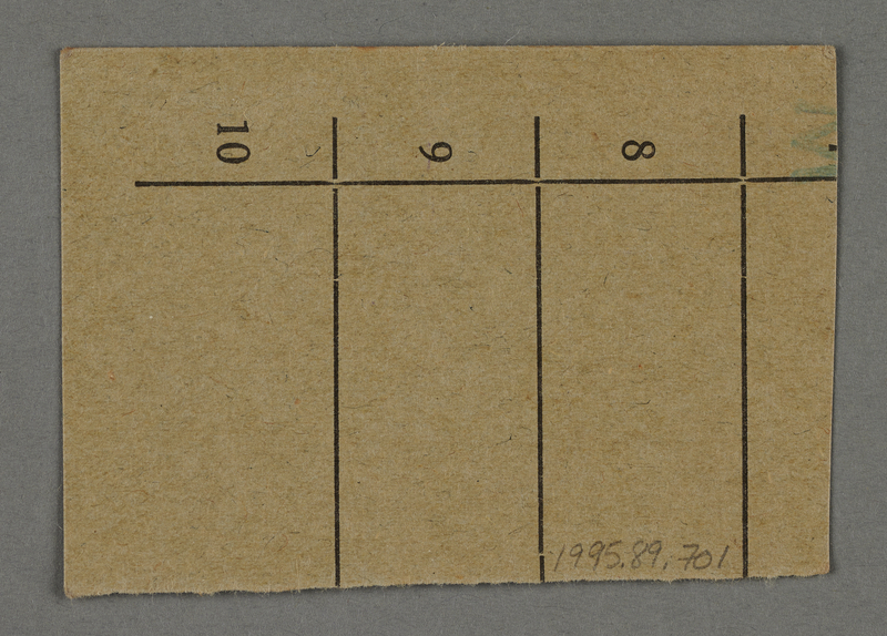 1995.89.701 back Work assignment slip from the Kovno ghetto