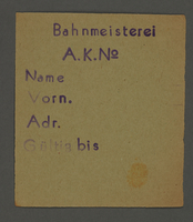 1995.89.703 front Work assignment slip from the Kovno ghetto  Click to enlarge
