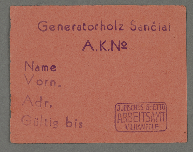 1995.89.704 front Work assignment slip from the Kovno ghetto