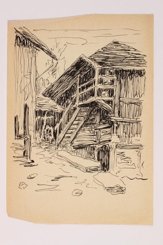 2012.483.46 front Ink sketch depicting a building