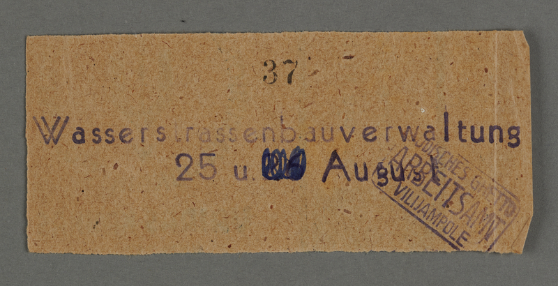 1995.89.706 front Work assignment slip from the Kovno ghetto