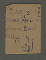 1995.89.707 front Work assignment slip from the Kovno ghetto  Click to enlarge