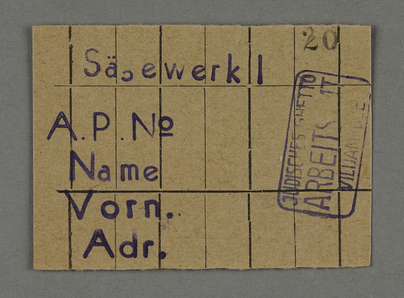 1995.89.710 front Work assignment slip from the Kovno ghetto