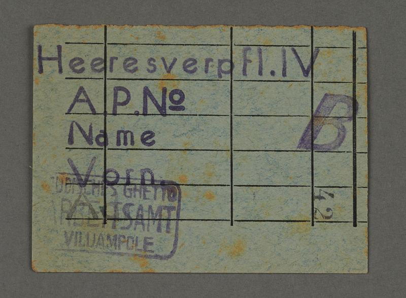 1995.89.713 front Work assignment slip from the Kovno ghetto