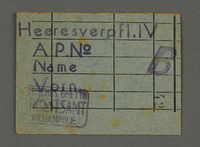 1995.89.713 front Work assignment slip from the Kovno ghetto  Click to enlarge